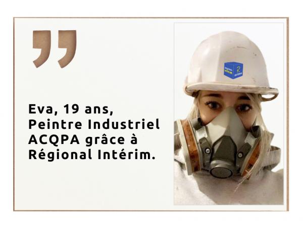 Eva, Peintre Industriel avec Regional Interim